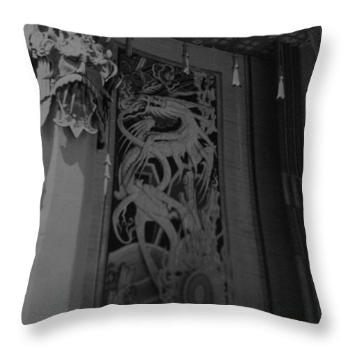 Black And White Throw Pillow featuring the photograph Chinese Theater by Rob Hans