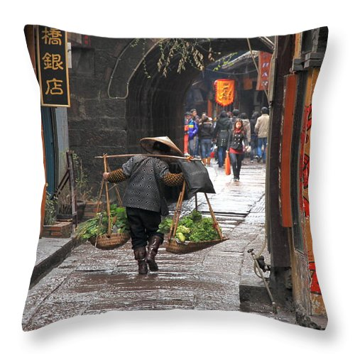 Asian Throw Pillow featuring the photograph Chinese Woman Carrying Vegetables by Valentino Visentini