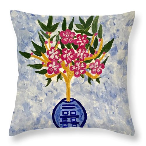 Chinoiserie Throw Pillow featuring the painting Chinoiserie Planter by Marti Magna