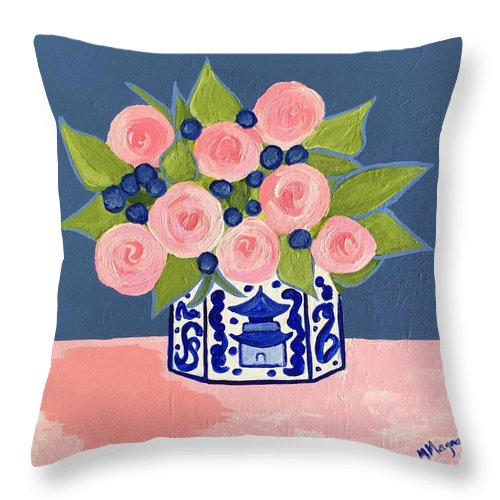 Chinoiserie Throw Pillow featuring the painting Chinoiserie Vase 2 by Marti Magna