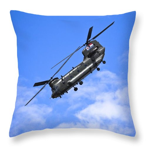 Chinook Throw Pillow featuring the photograph Chinook Helicopter by Benjamin Langford