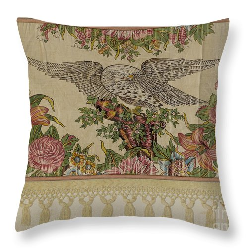 Throw Pillow featuring the drawing Chintz Valance For Poster Bed by Raymond Manupelli