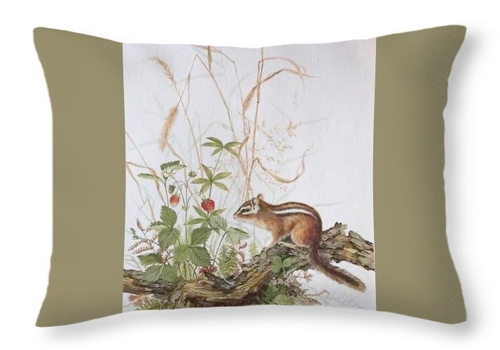 Limited Editions Throw Pillow featuring the painting Chipmunk by Jean Pierre DeBernay
