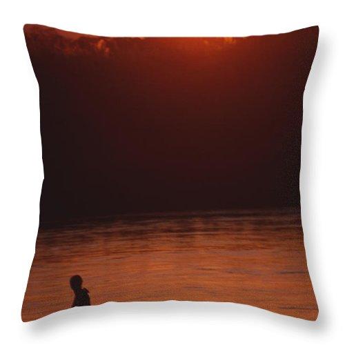 Sunset Throw Pillow featuring the photograph Chitwan Sunset by Patrick Klauss