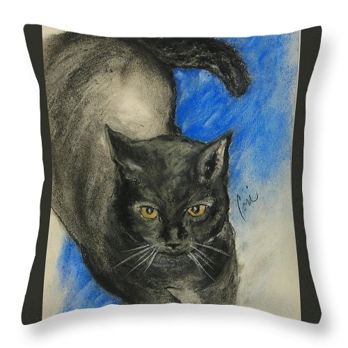 Cat Throw Pillow featuring the drawing Chloe by Cori Solomon