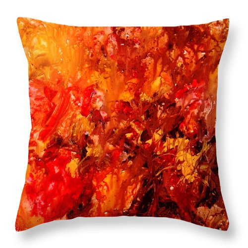 Abstract Throw Pillow featuring the painting Chocolate Cherry Kiss by Natalie Holland