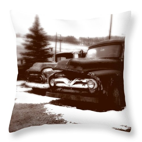 Old Cars Throw Pillow featuring the photograph Chocolate Ghosts by Jean Macaluso