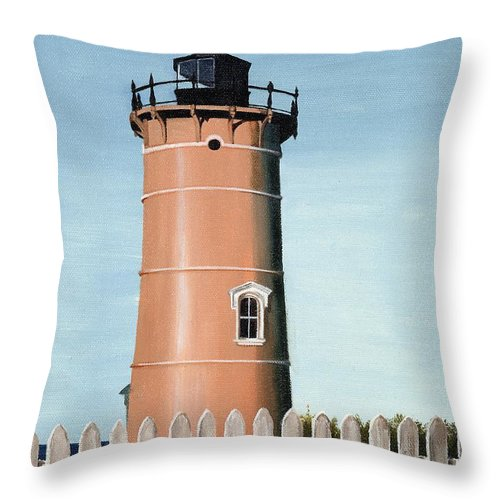 Lighthouse Throw Pillow featuring the painting Chocolate Lighthouse by Mary Rogers