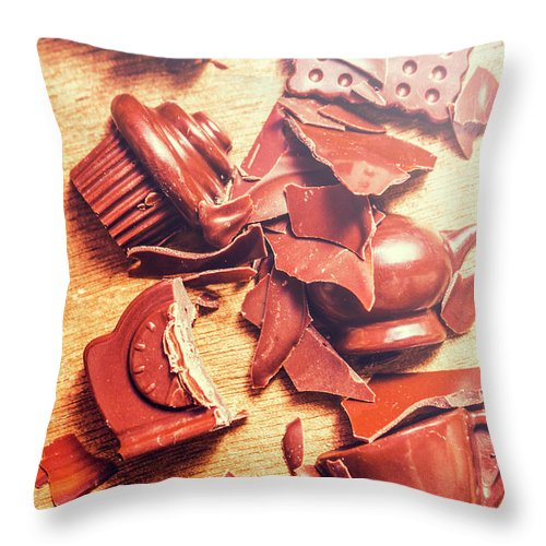 Kitchen Throw Pillow featuring the photograph Chocolate Tableware Destruction by Jorgo Photography - Wall Art Gallery