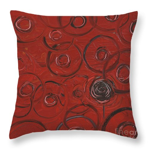Red Throw Pillow featuring the painting Choices In Red by Nadine Rippelmeyer