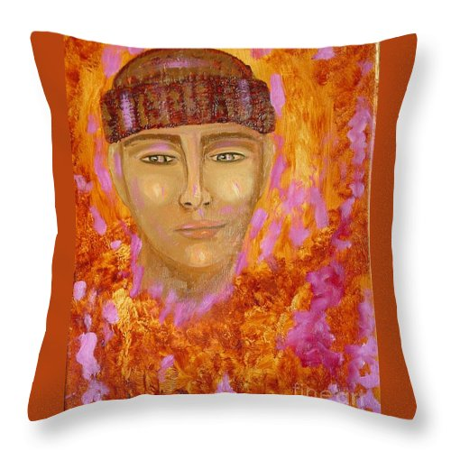 Portrait Throw Pillow featuring the painting Choices by Laurie Morgan