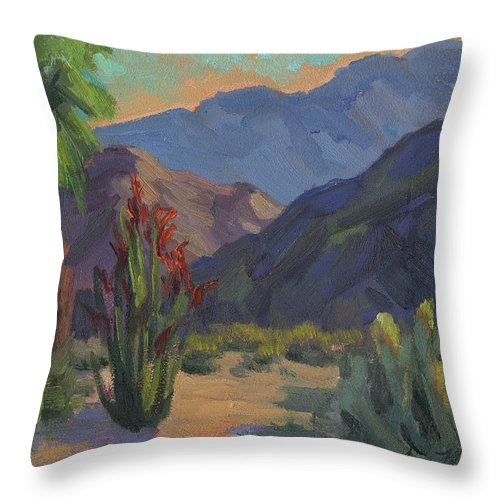 Cholla Cactus Throw Pillow featuring the painting Cholla At Smoketree Ranch by Diane McClary