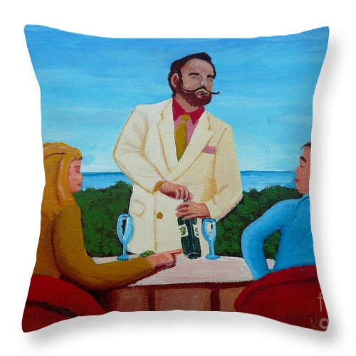 Wine Throw Pillow featuring the painting Choosing The Wine by Anthony Dunphy