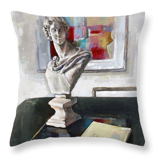 Oil Throw Pillow featuring the painting Chopin by Becky Kim