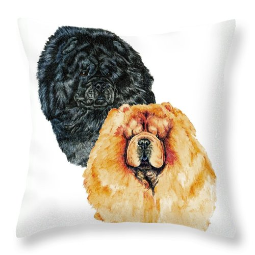 Chow Chow Throw Pillow featuring the painting Chow Chows by Kathleen Sepulveda