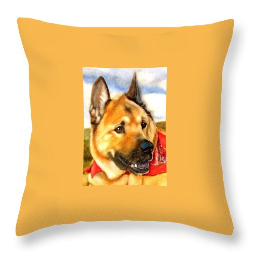 Chow Throw Pillow featuring the painting Chow Shepherd Mix by Marilyn Jacobson