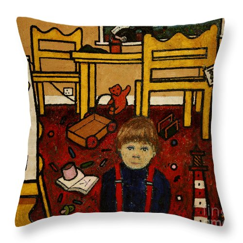 Chris Throw Pillow featuring the painting Chris by Andy Mercer