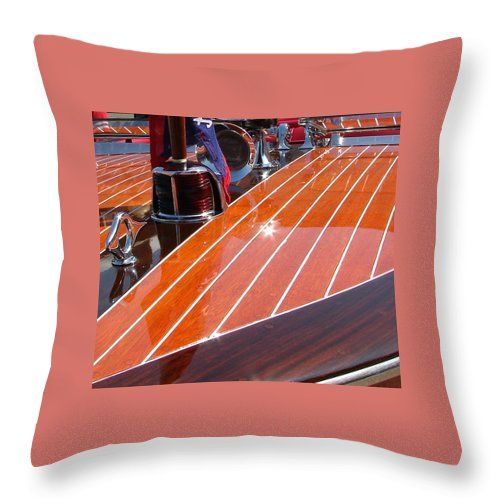 Chriscraft Throw Pillow featuring the photograph Chris Craft Bow by Michelle Calkins