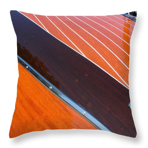 Classic Boat Throw Pillow featuring the photograph Chris Craft Powerboat by Michelle Calkins