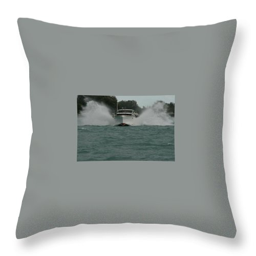 Constellation Throw Pillow featuring the photograph Chris Craft Splash by Dawn Stone
