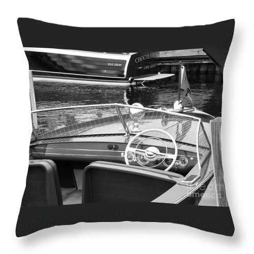 Chris Craft Throw Pillow featuring the photograph Chris Craft Utility by Neil Zimmerman