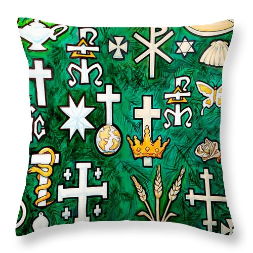 Chrismons Throw Pillow featuring the greeting card Chrismons by Kevin Middleton