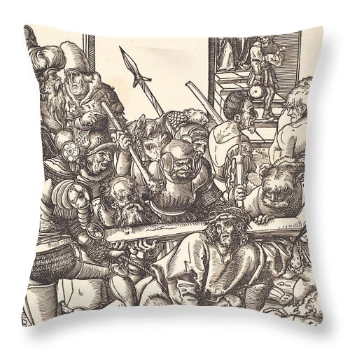 Throw Pillow featuring the drawing Christ Bearing The Cross by Lucas Cranach The Elder