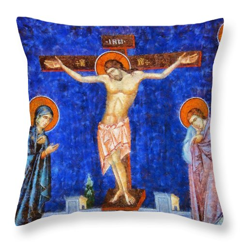 Fantasy Throw Pillow featuring the painting Christ Crucified by Esoterica Art Agency