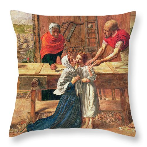 Christ In The House Of His Parents Throw Pillow featuring the painting Christ In The House Of His Parents by JE Millais and Rebecca Solomon