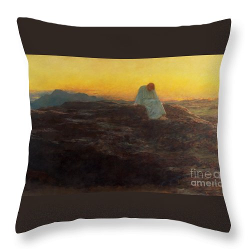 Christ In The Wilderness Throw Pillow featuring the painting Christ In The Wilderness by Briton Riviere