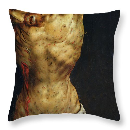 Jesus Throw Pillow featuring the painting Christ On The Cross by Matthias Grunewald