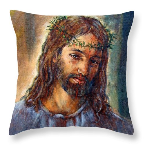 Christ Throw Pillow featuring the painting Christ With Thorns by John Lautermilch
