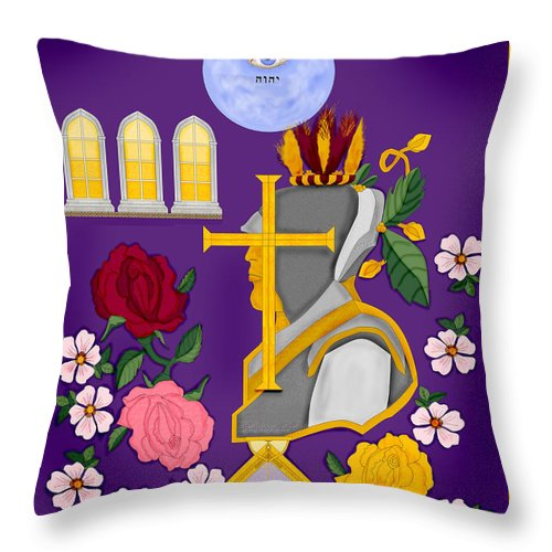 Christian Throw Pillow featuring the painting Christian Knights Of The Cross And Rose by Anne Norskog