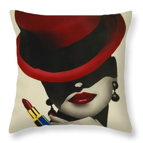 Christion Dior Red Hat Lady Throw Pillow featuring the painting Christion Dior Red Hat Lady by Jacqueline Athmann