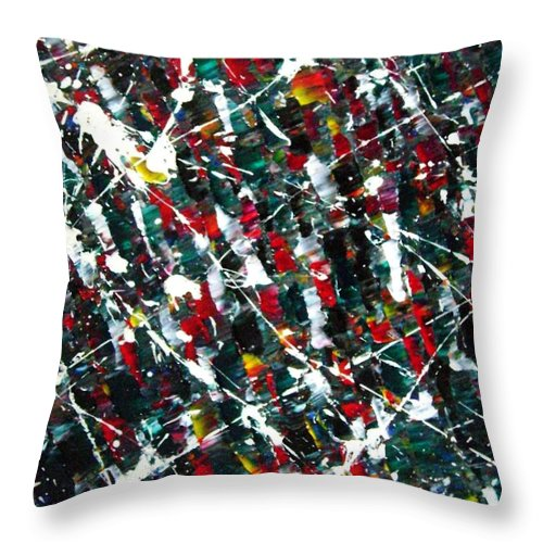Action Throw Pillow featuring the painting Christmas 1969 by Stephane Trahan