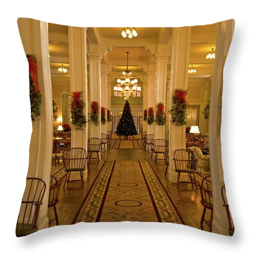 mount Washington Hotel Throw Pillow featuring the photograph Christmas At The Mount Washington Hotel by Paul Mangold