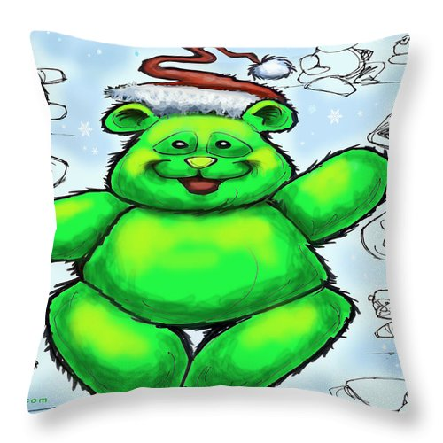 Christmas Throw Pillow featuring the greeting card Christmas Bear by Kevin Middleton