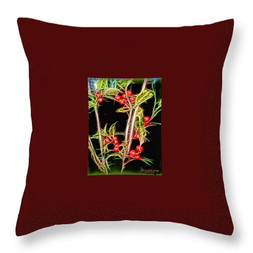 Berries Throw Pillow featuring the photograph Christmas Berries by Ericamaxine Price
