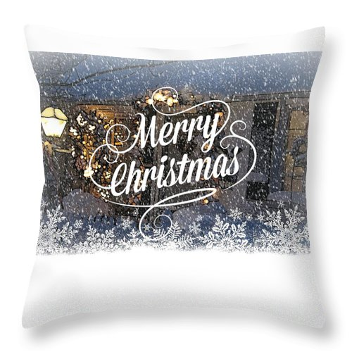 Holiday Card Throw Pillow featuring the digital art Christmas Blizzard by Blake Baines