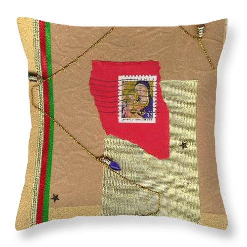 Christmas Throw Pillow featuring the mixed media Christmas Card by Steve Karol