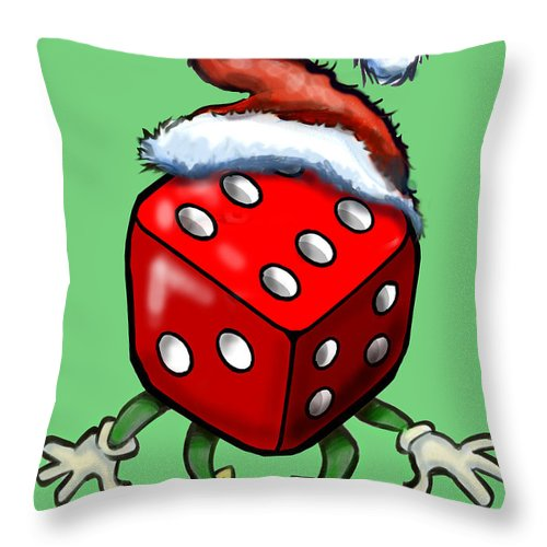 Christmas Throw Pillow featuring the greeting card Christmas Casino Party by Kevin Middleton