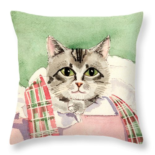 Cat Throw Pillow featuring the painting Christmas Cat by Arline Wagner