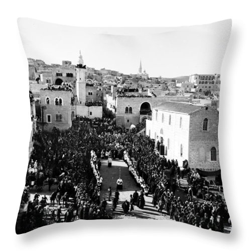 Christmas Throw Pillow featuring the photograph Christmas Celebration In 1901s by Munir Alawi