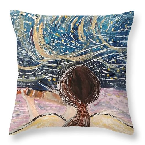 Angel Throw Pillow featuring the painting christmas Eve and a Starry Night by J Bauer