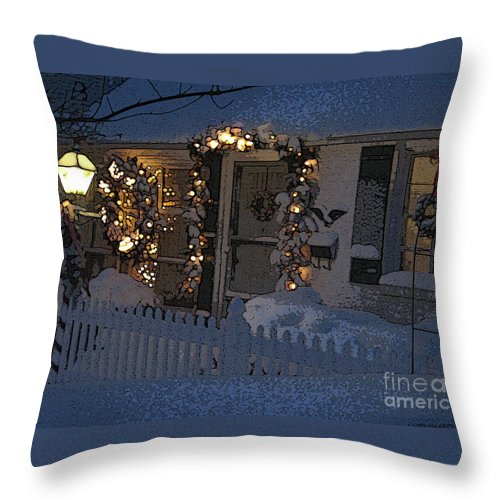 Christmas Throw Pillow featuring the digital art Christmas Eve At Home by Blake Baines