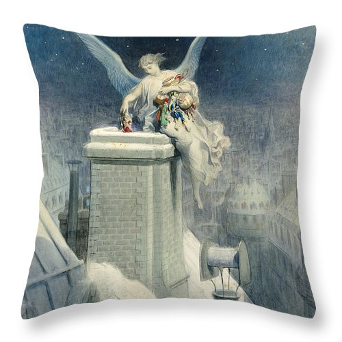 Christmas Throw Pillow featuring the painting Christmas Eve by Gustave Dore
