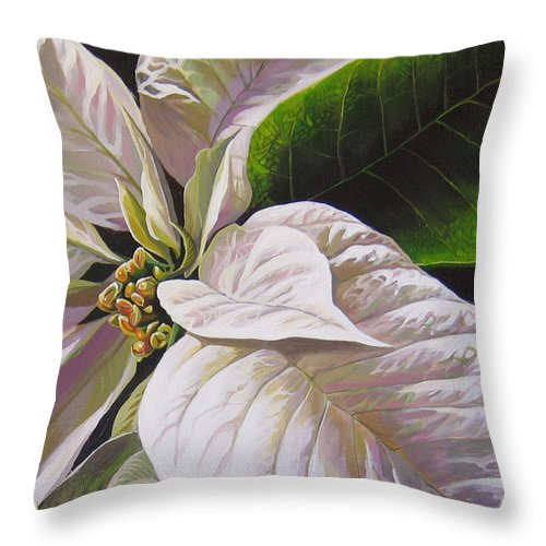 White Poinsettia Throw Pillow featuring the painting Christmas Eve by Hunter Jay