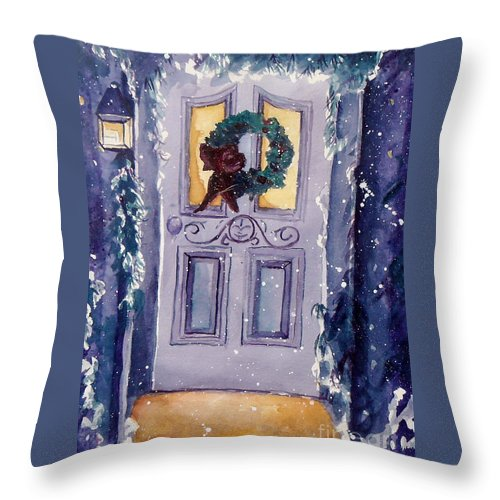 Holiday Scene Throw Pillow featuring the painting Christmas Eve by Jan Bennicoff