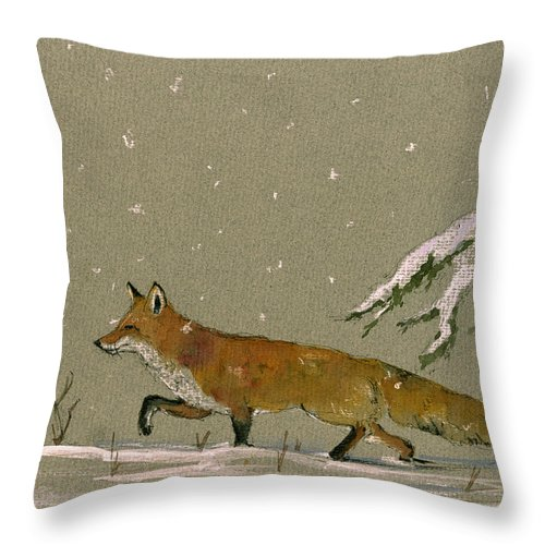 Fox In The Snow Throw Pillow featuring the painting Christmas Fox Snow by Juan Bosco