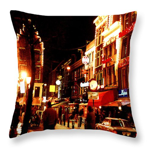 Night Throw Pillow featuring the photograph Christmas In Amsterdam by Nancy Mueller
